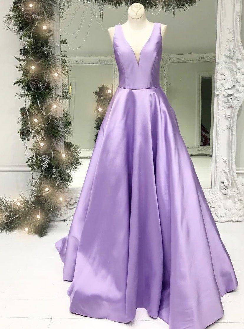 2018 Lavender Plunging V Neck Formal Evening Gown   Evening Dresses ...