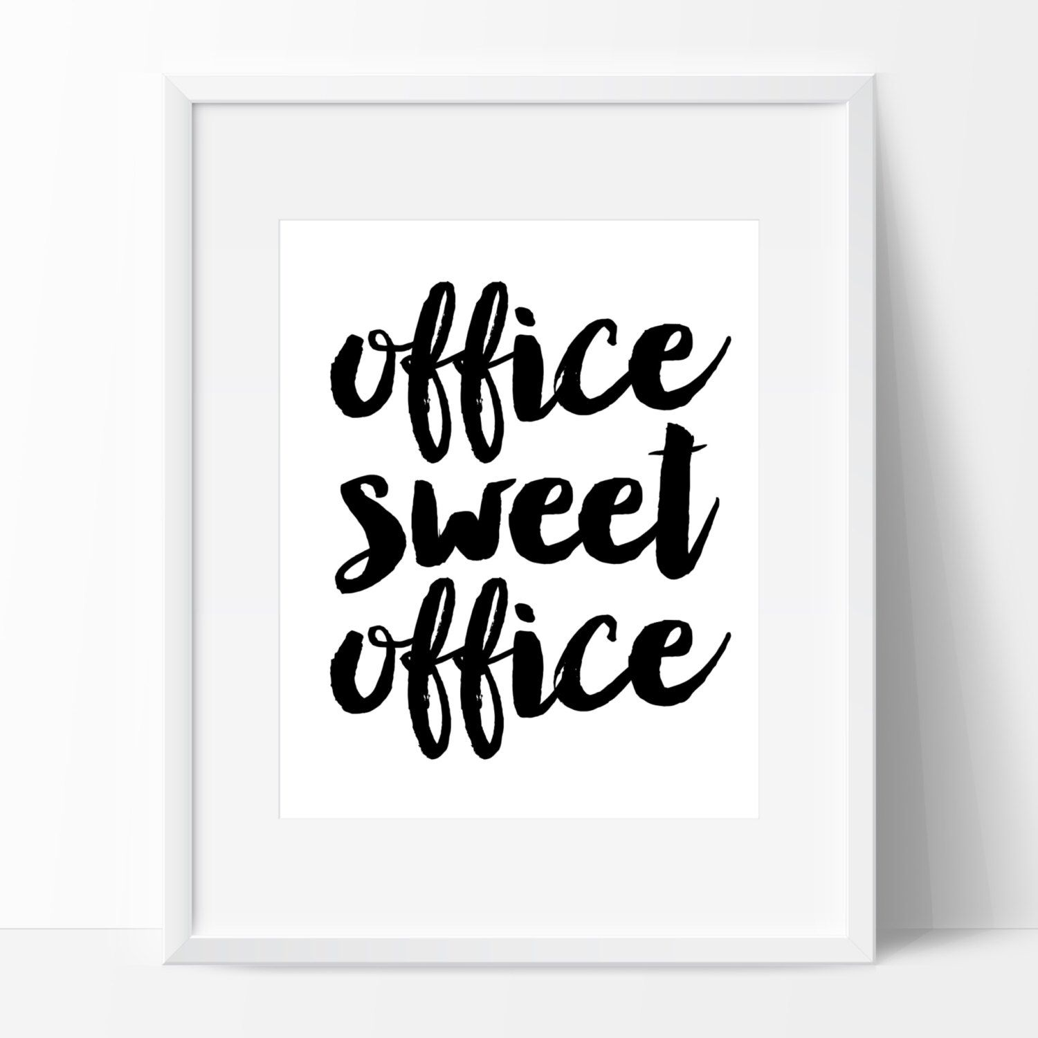 PRINTED Office Sweet Office Sign Calligraphy Chic Modern Office ...