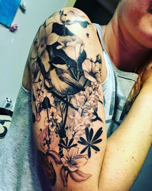 Beautiful Realistic Chickadee Tattoo By Australian Realism: Chickadee Tattoo With California Wildflowers