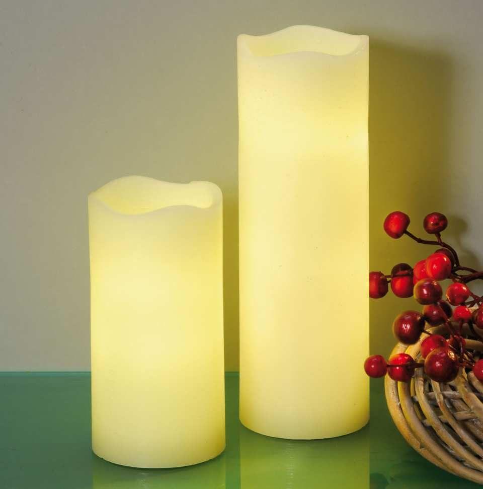 Led Kerze Aus Leicht Geriffeltem Elfenbeinfarbenem Echtwachs