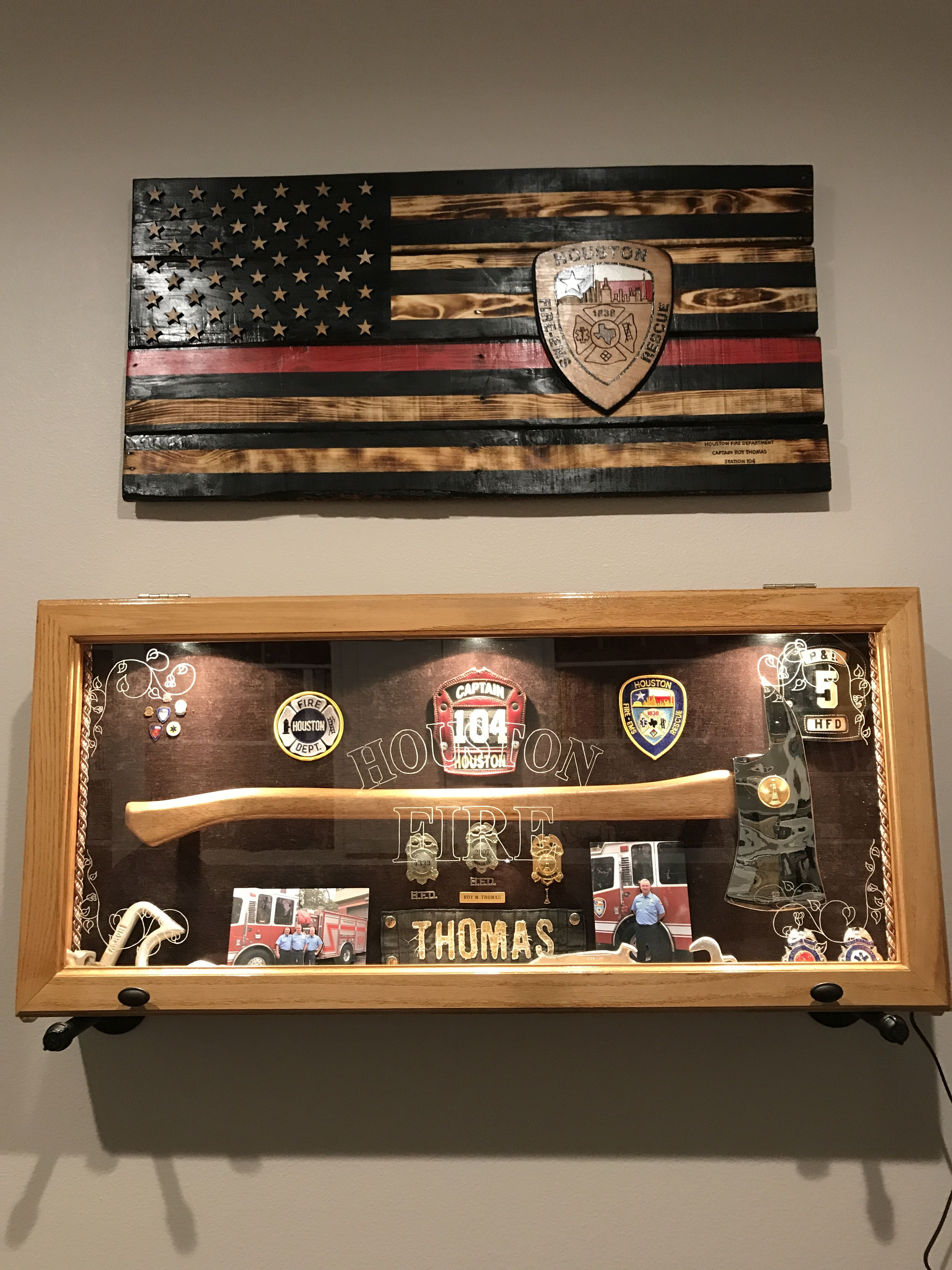 Firefighter Shadow Boxes And Flag Bar Decorations Mancave Ideas Fire