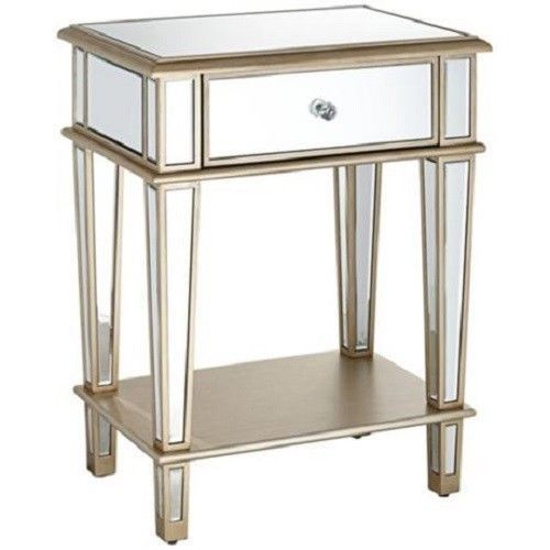 new venetian mirrored end side table shelf nightstand gold trim l1 hollywoodregency the. Black Bedroom Furniture Sets. Home Design Ideas