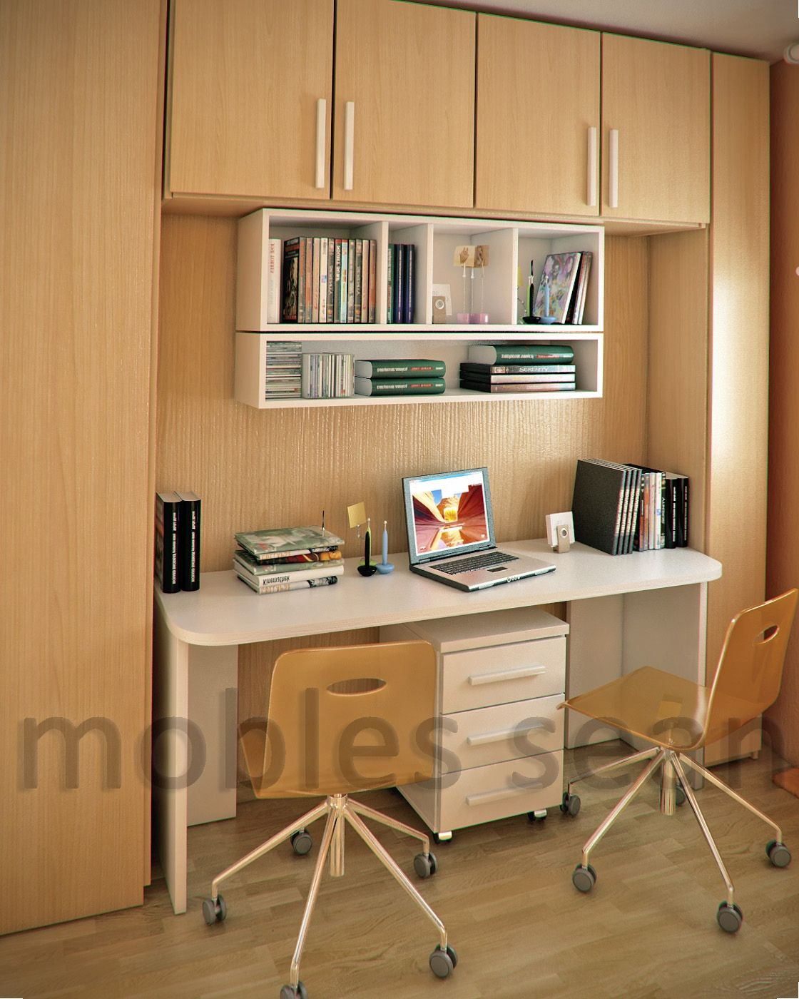 Small Study Room Area With Wood Storage White Wall Shelves Computer Desk And Swivel Chairs