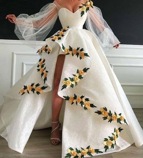 African White Floral Wedding Dress, African Mermai