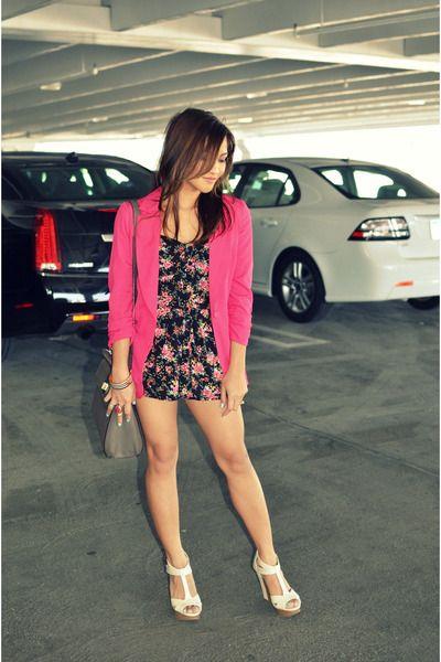 neon pink Candies blazer - grey square kate spade bag - floral Forever 21 romper