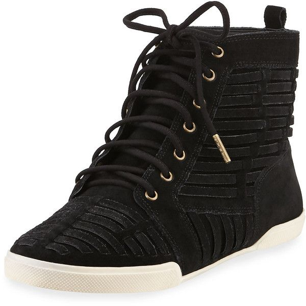 Elliott Lucca Rima Woven Suede High-Top Sneaker ($99) ❤ liked on Polyvore featuring shoes, sneakers, black, high heel shoes, black hi tops, suede sneakers, suede shoes and black high heel shoes