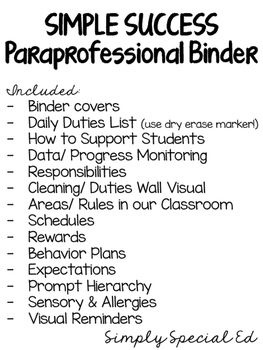 When Is Use Of Paraprofessionals >> Paraprofessional Binder For The Special Education Classroom