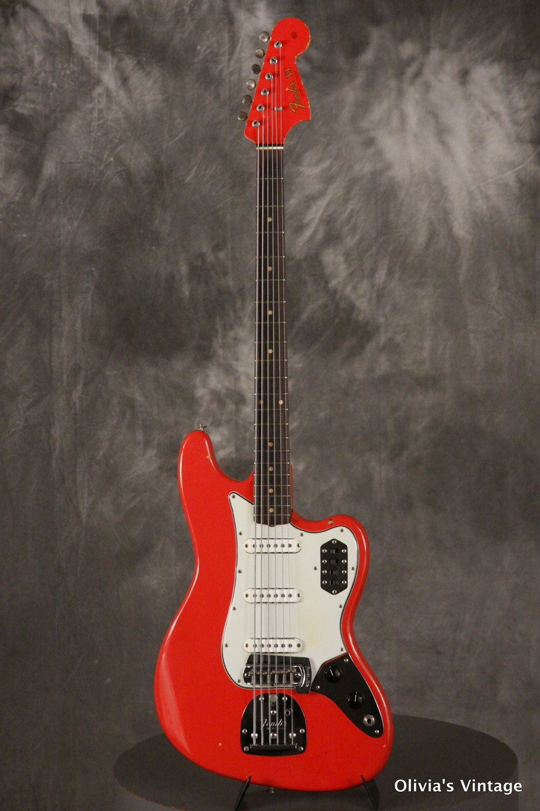 Rare 1963 Pre Cbs Fender Bass Vi Original Custom Color Fiesta Red Olivia S Vintage Reverb Fender Bass Guitar Bass