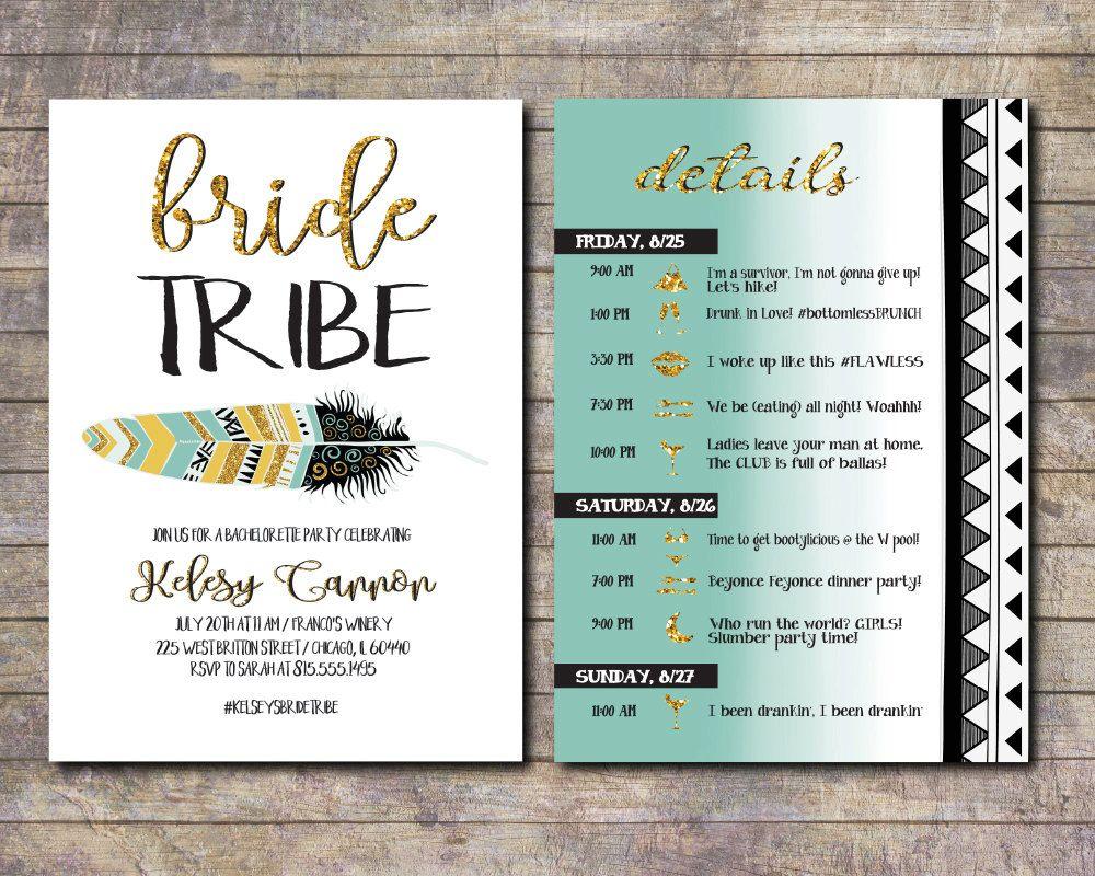 Bachelorette invite with itinerary, Bride squad, Tribal Bachelorette ...