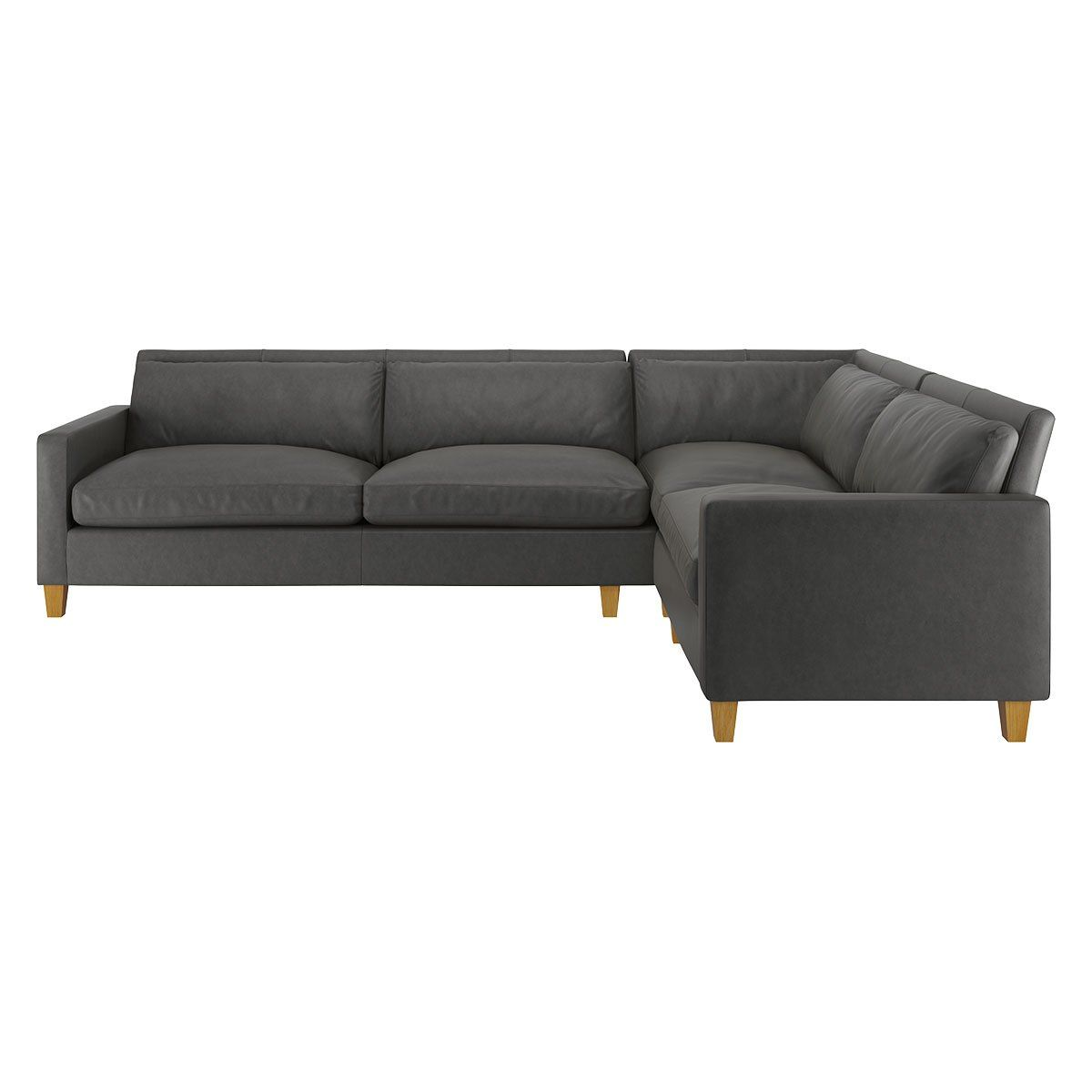 Healy Left Corner Sofa In Grey Faux Leather With Chrome Legs Corner Sofa
