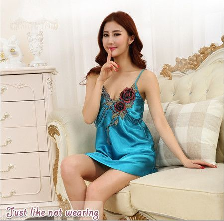 fb12fcc8e9f43 Women Sexy Silk Satin Nighties Sleeveless Nightgown Embroidery Night Dress  V-neck Sleeping Dress Plus Size Sleepwear Nightwear
