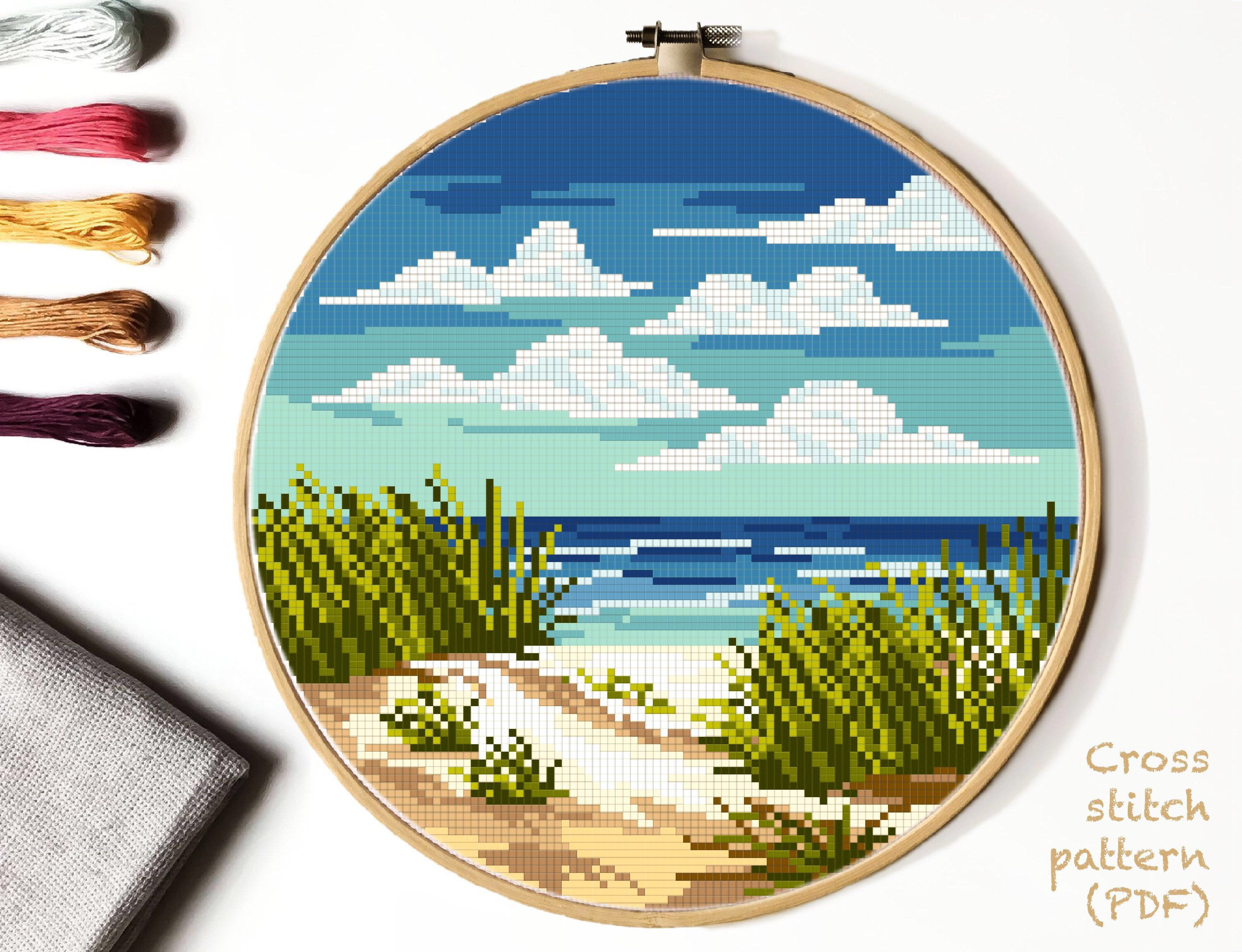 Photo of Indiana Dunes National Park Modern cross stitch pattern, landscape, sea, beach, nature, easy cross stitch, embroidery,  INSTANT DOWNLOAD PDF