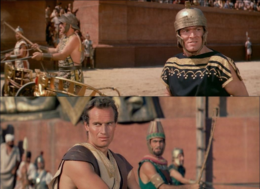 Stephen Boyd as Messala and Charlton Heston as Ben-Hur, the great rivals in the chariots race to take place in Jerusalem. For Massala, victory means reinforcing his world view that Romans are superior to Jews and anyone else who opposes Roman power. For Judah Ben-Hur victory is his revenge for his mother and daughter, who are believed dead. Ben-Hur 1959 #benhur1959