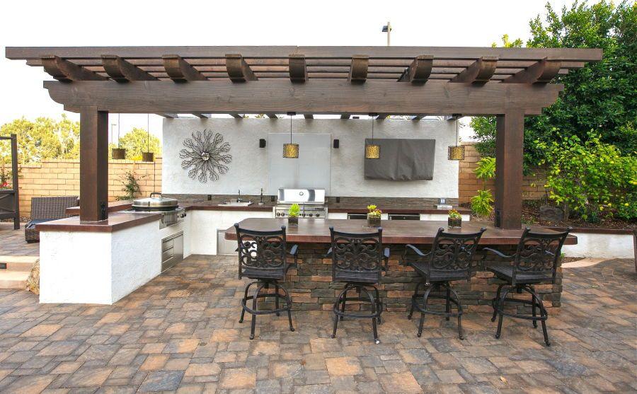 Sundowner Estates Outdoor Kitchen Firepit And Pavers California Smartscape Outdoor Kitchen Outdoor Kitchen Design Outdoor Living
