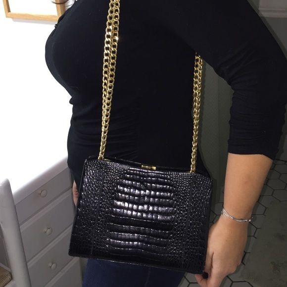 Authentic vintage crocodile evening bag black Real crocodile. Imported from Italy. Gold accents. Comes with dust bag. Barely used Bags