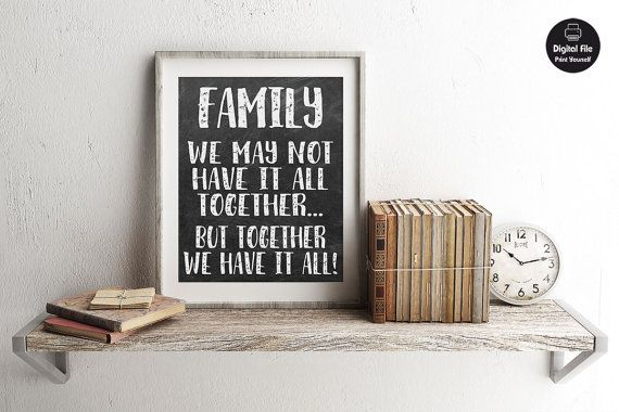 Chalkboard Sign Family Quote  Together We by ColorfulCloudStudio