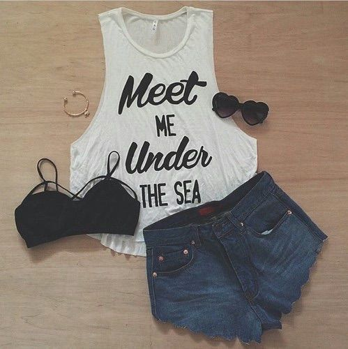 12487061763 Image via We Heart It  bustier  clothes  glasses  love  meet  nice  outfit   short  top  undersea