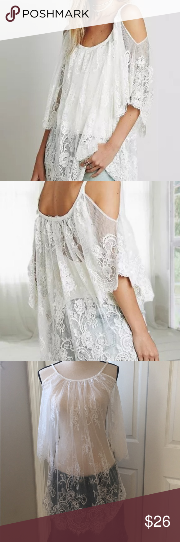 Nwot sexy lace detail sheer coverup top sexy swim and lace