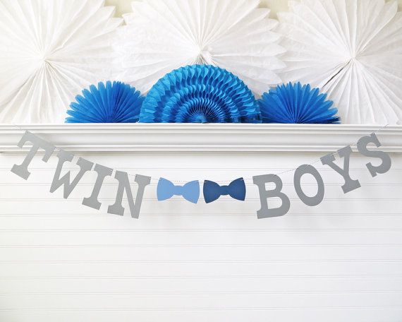 twin boys banner 5 inch letters with bow by freshlemonblossoms
