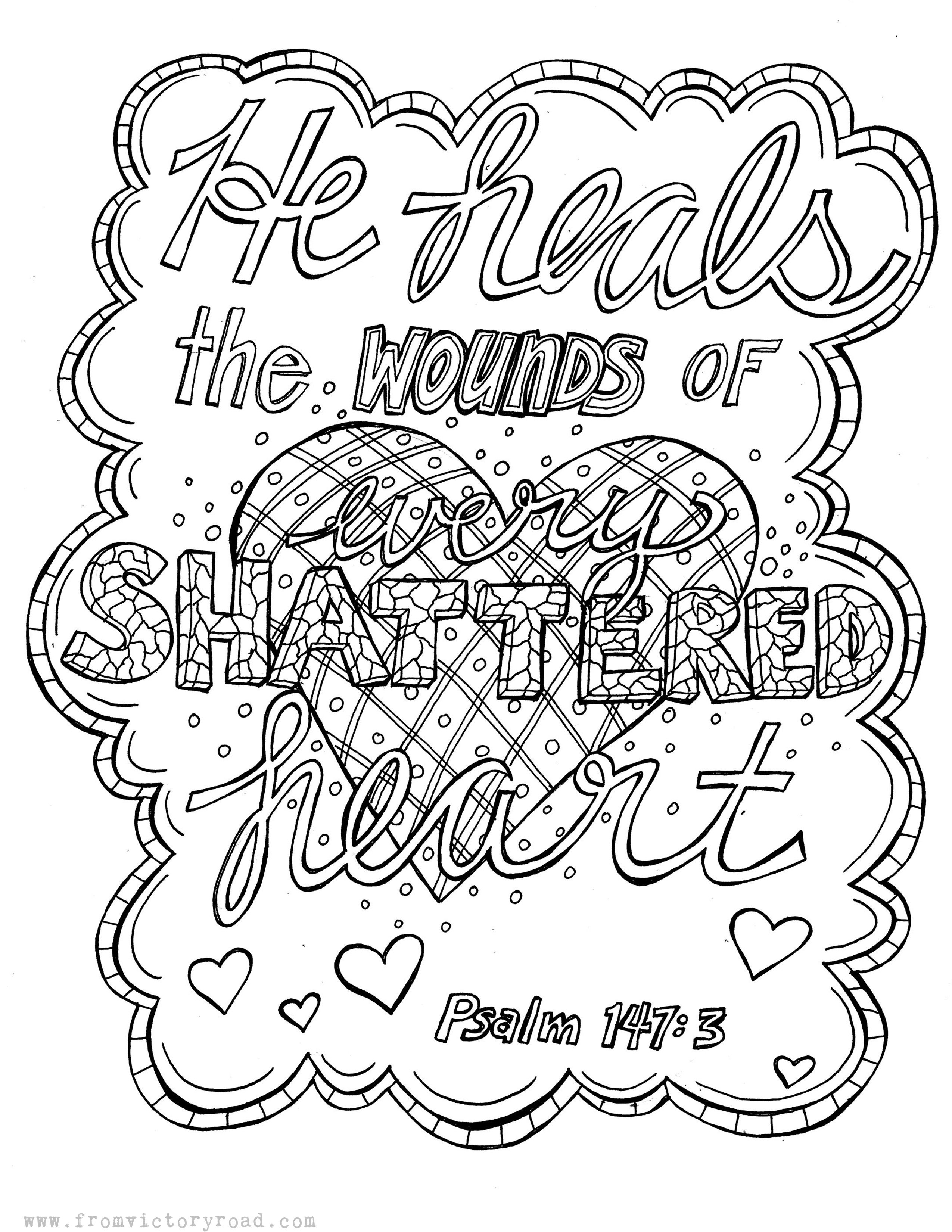 Psalm 147 3 Coloring Page From Victory Road Scripture Coloring