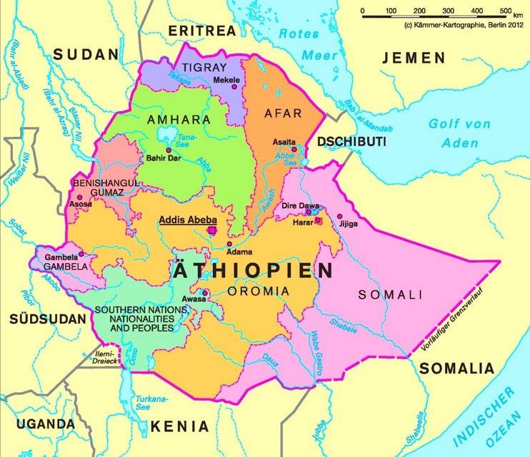 Verwaltungskarte Von Athiopien In 2020 Kartographie Karten