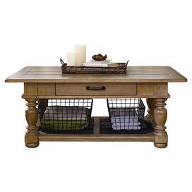 Turned Wood Coffee Table With One Drawer And Two Storage Baskets. Product: Coffee  Table