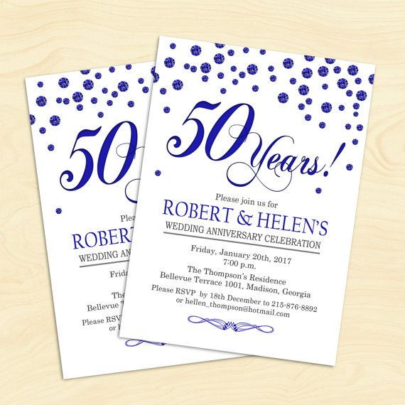 50th wedding anniversary invitation royal blue digital 50th wedding anniversary invitation royal blue digital stopboris Choice Image