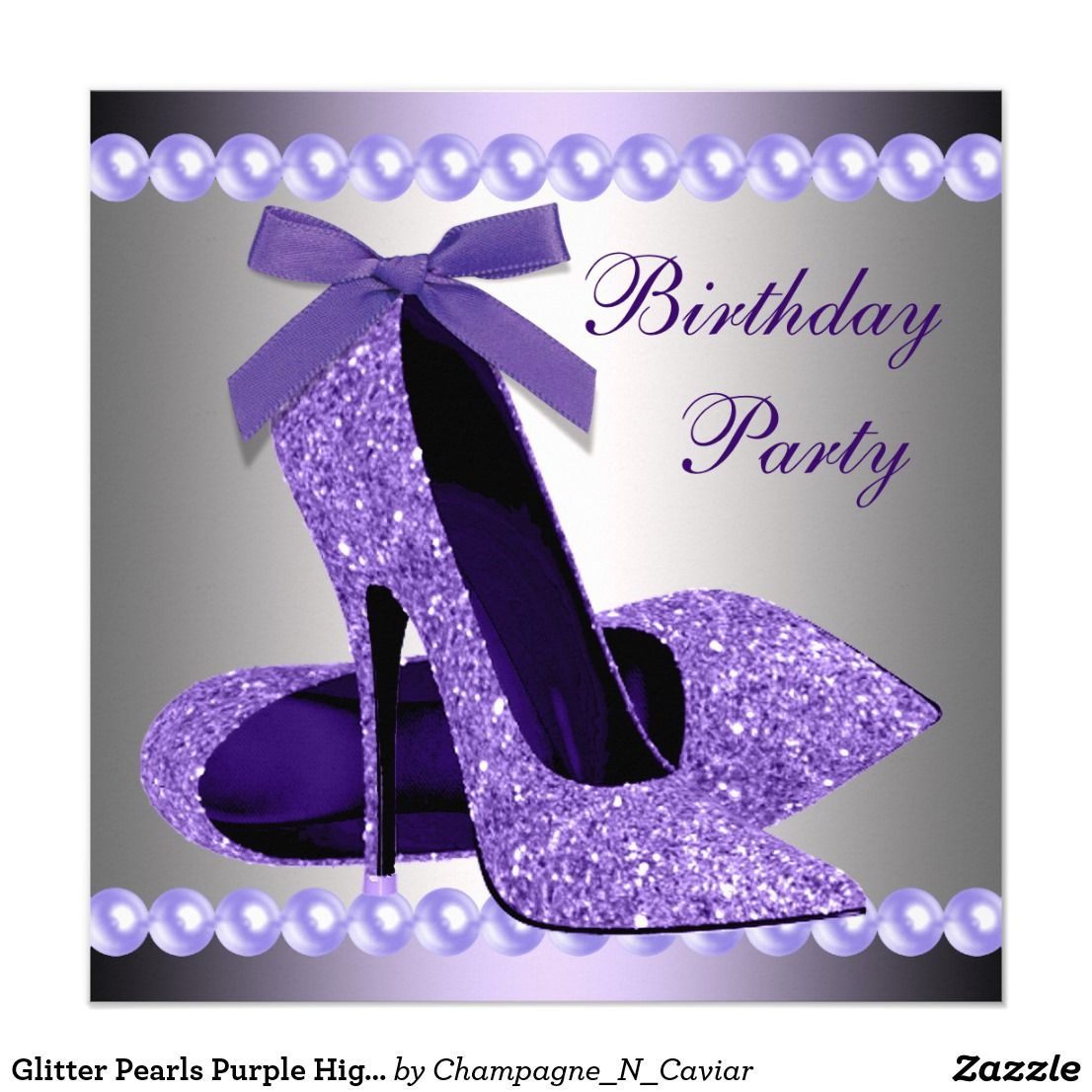 Glitter Pearls Purple High Heels Shoes Birthday Card | Quinceanera ...