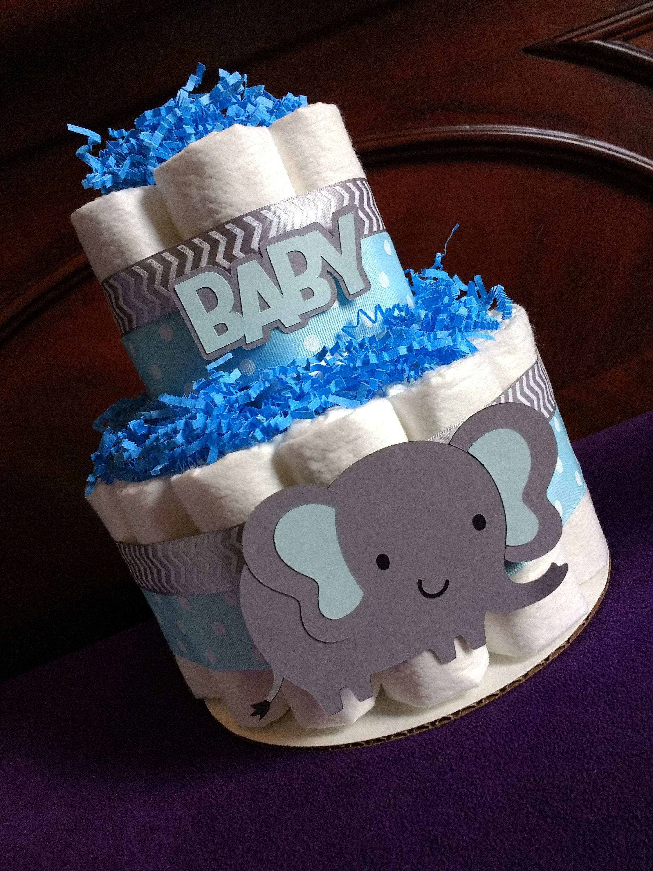 Elephant Diaper Cake Two Tier Diaper Cake Safari Boy Diaper Cake Blue And Gray Cake Centerpiece Shower Decoration Baby Gift Diaper Cake Centerpieces Elephant Diaper Cakes Baby Shower Theme Decorations