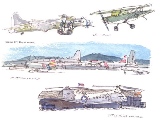 Sketching Airplanes at March Air Reserve Base | Urban Sketchers