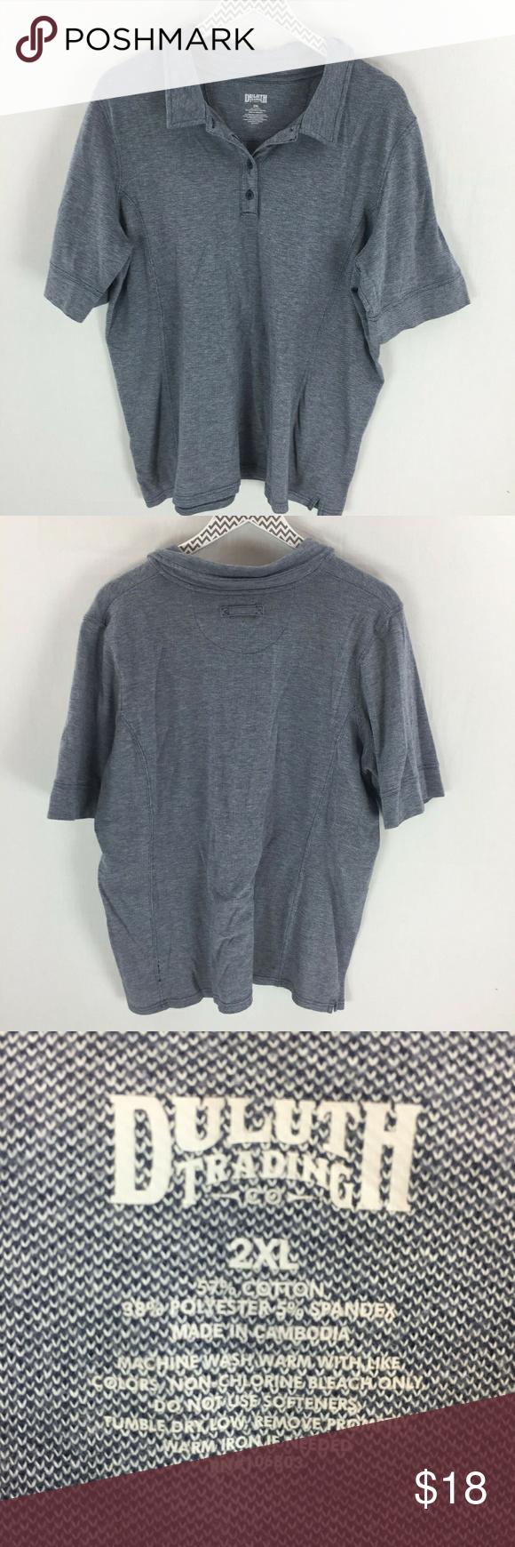 Duluth trading Co short sleeve polo shirt 2xl blue Duluth