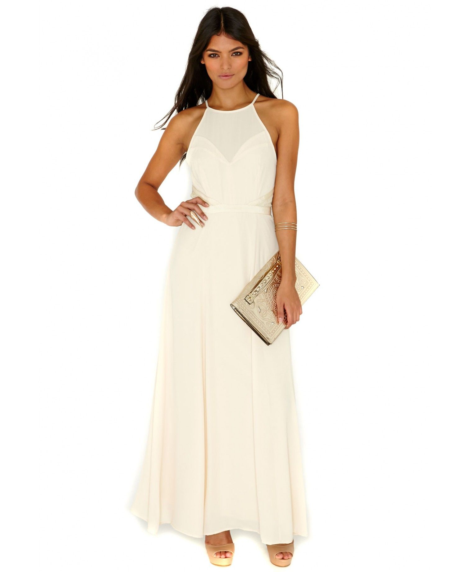 e6bfe3cff {Lace Open Back Maxi Dress In Beige | Missguided | $70} Channel your inner  enchantress in this beautiful flowing open back maxi. With delicate straps  and ...