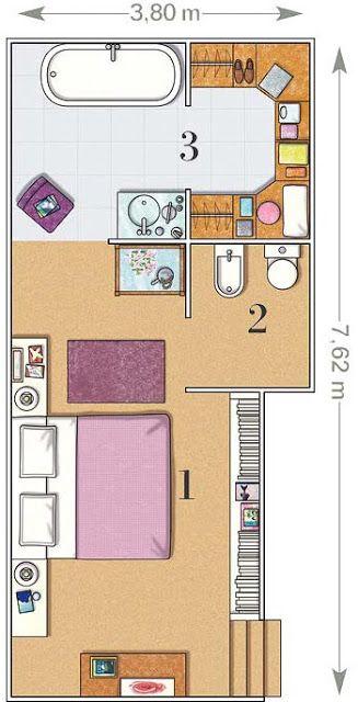 Planos de dormitorios medianos planos pinterest - Bano 3 metros cuadrados ...