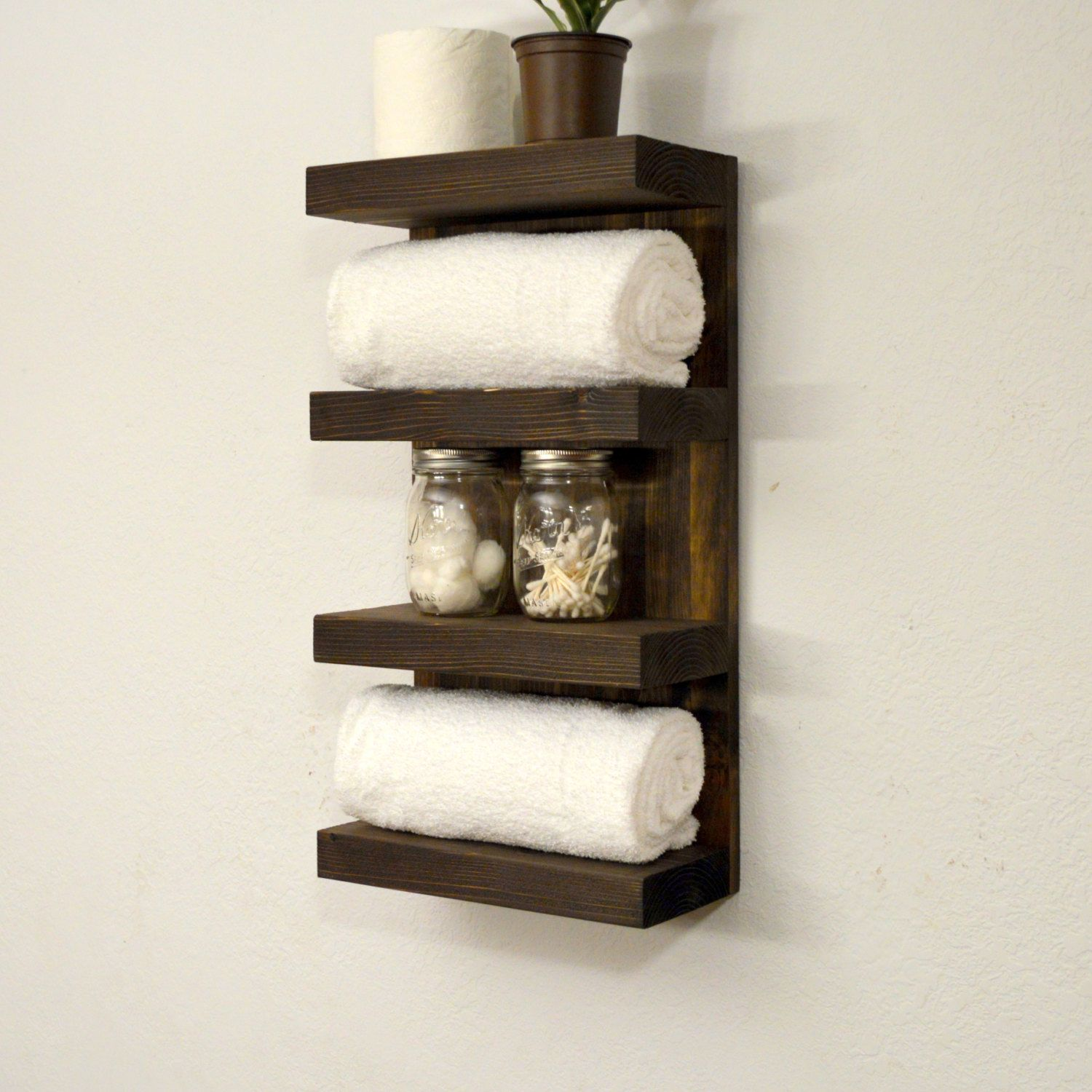 Bath Towel Shelf. Bathroom Towel Rack 4 Tier Bath Storage Floating Shelf  Hotel Style Dark