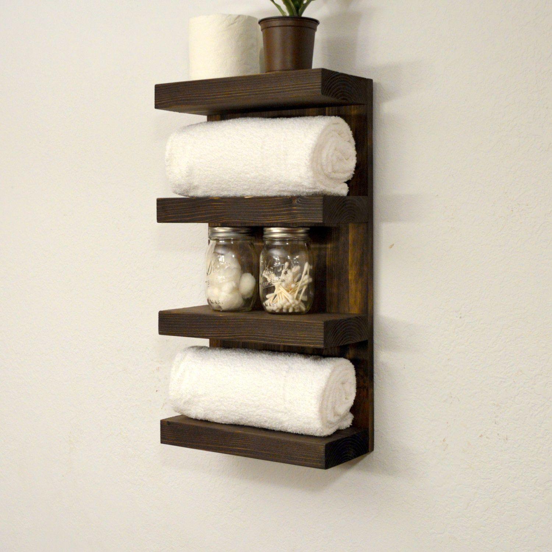 Four Tier Bathroom Shelf | Bathroom towels, Dark walnut and Towels
