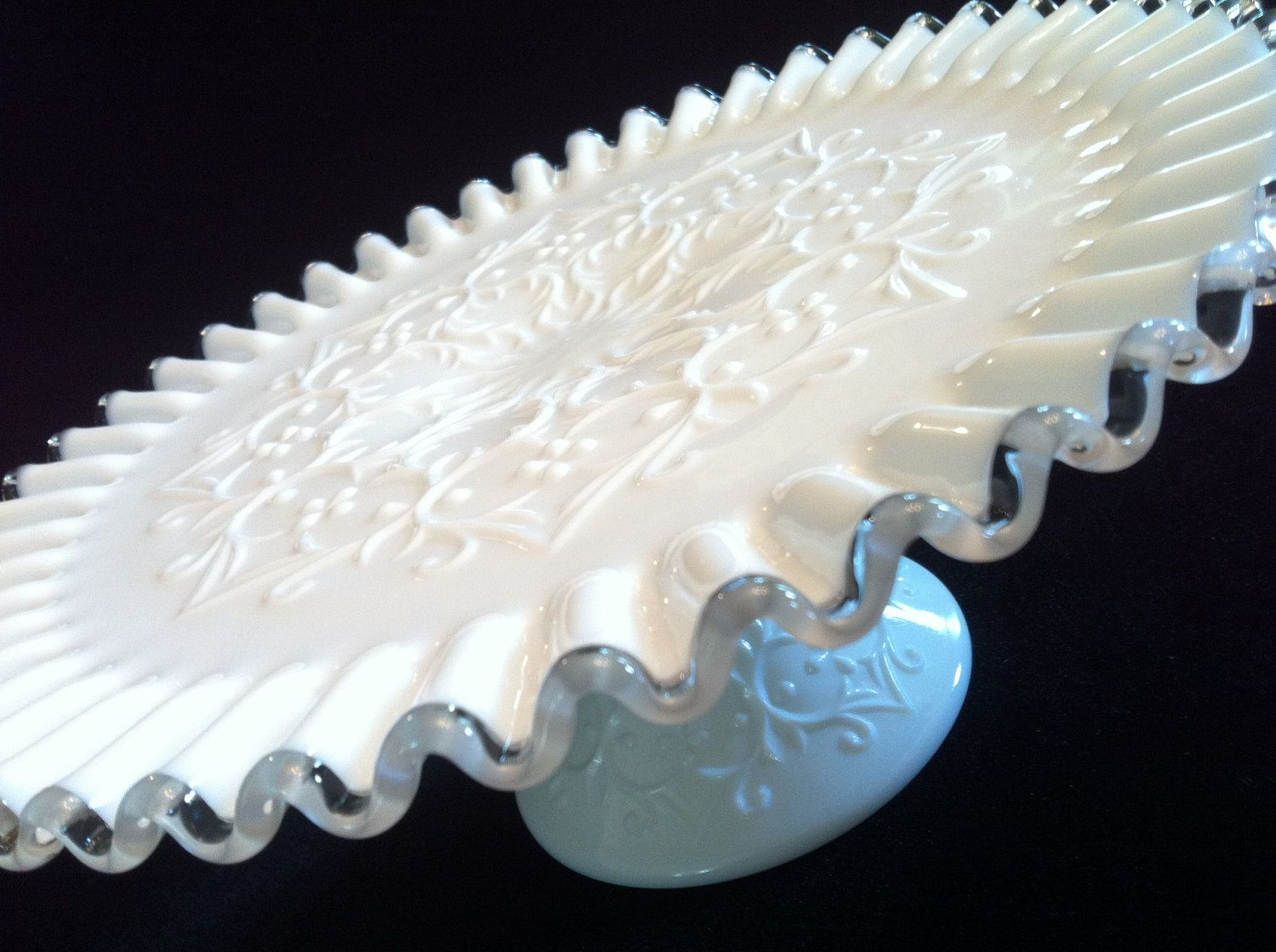 Fenton Milk Glass Cake Stand in Silver Crest Spanish Lace circa1960's