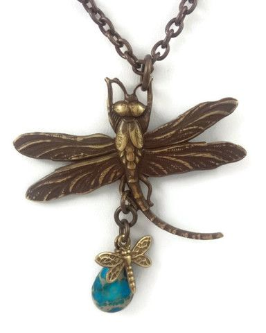Dragonfly Necklace with Blue Stone by Josephine Brooks