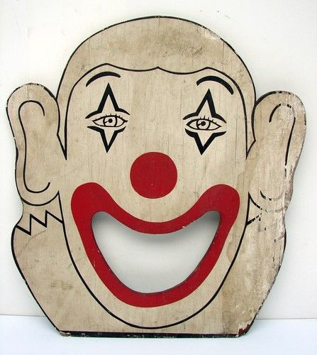 Antique Vintage Carnival Game Bean Bag Toss Clown Wood