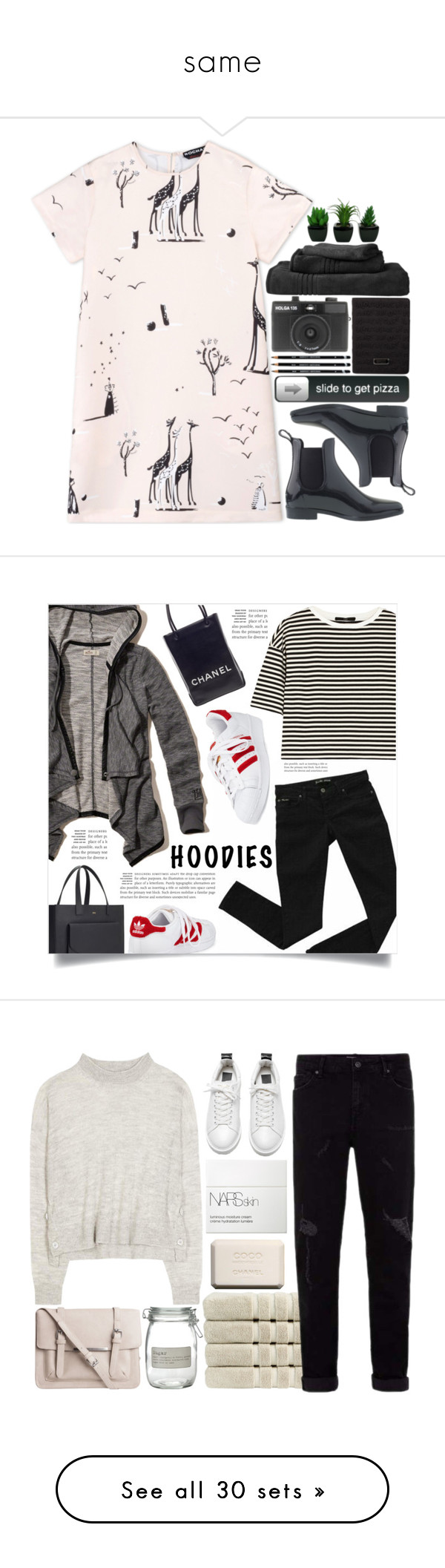 """""""same"""" by annabitchchase ❤ liked on Polyvore featuring Rochas, J.Crew, Marc by Marc Jacobs, Holga, Hollister Co., TIBI, Chanel, adidas, Hoodies and Christy"""
