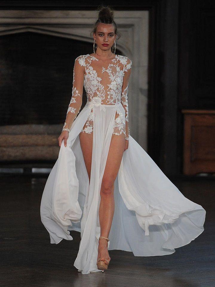 Berta sheer lace wedding dress with two-piece skirt | itakeyou.co.uk #wedding #weddingfashion #bridal #weddingdress #weddinggown #bridalgown #weddingdresses #weddinggowns #berta #bridalinspiration #weddinginspiration #engaged