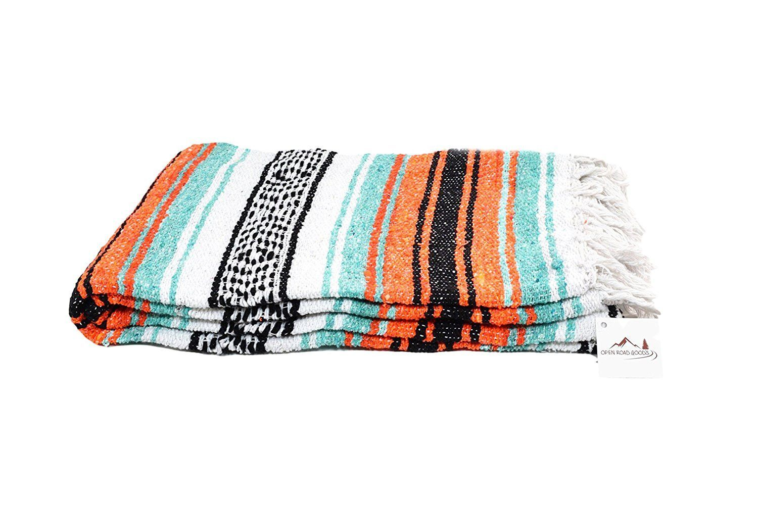 La Playa Mexican Yoga Blanket, Mint & Orange