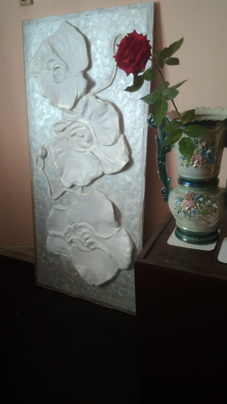 Large sculptural wall art flower orchid basrelief d gypsum plaster