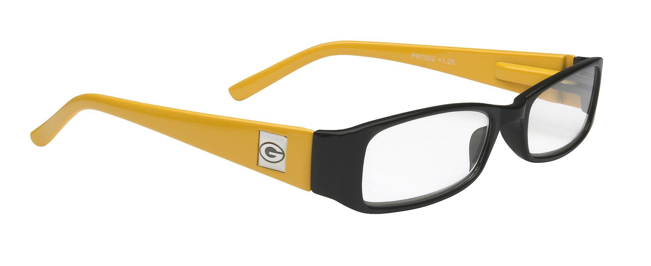 Nfl Green Bay Packers Reading Glasses Yellow And Black Frame With Logo Frgc115 Myeyewear2go Com Nfl Green Bay Glasses Reading Glasses