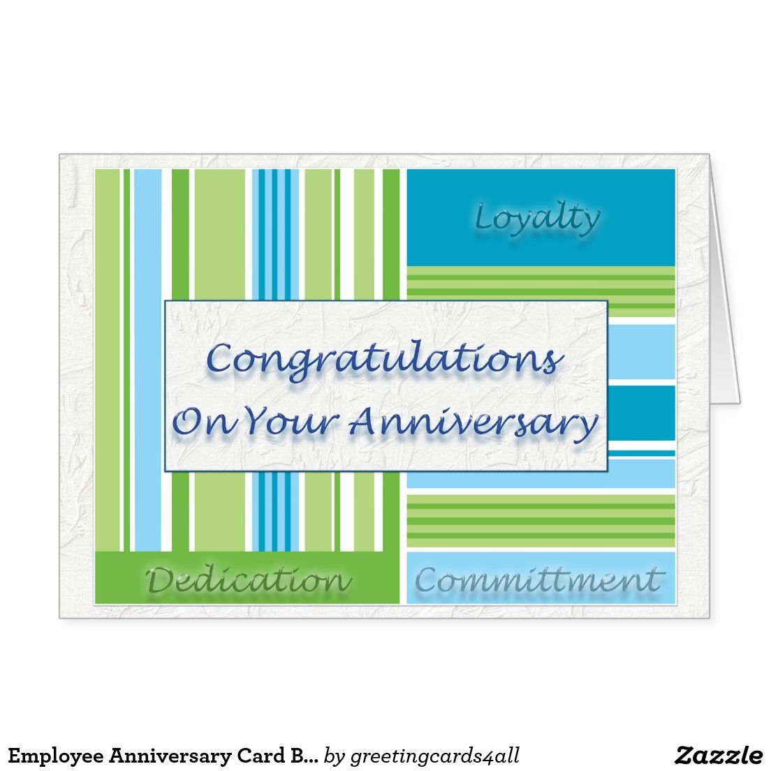 employee anniversary card blue and green - Employee Anniversary Cards
