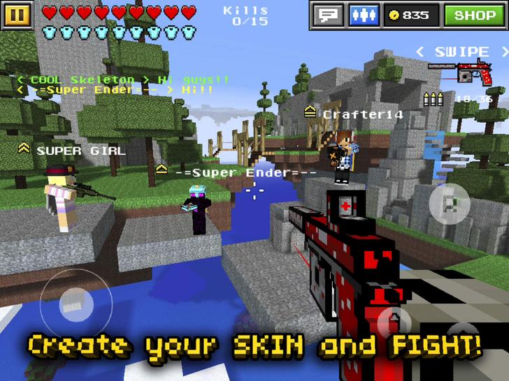 Pixel Gun D Block World Pocket Survival Shooter With Skins Maker - Minecraft shooter spiele
