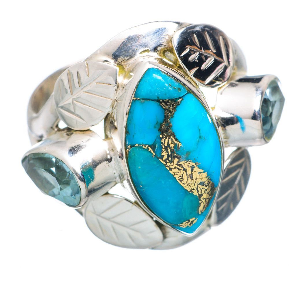 Blue Copper Composite Turquoise, Blue Topaz 925 Sterling Silver Ring Size 7.75 RING734212