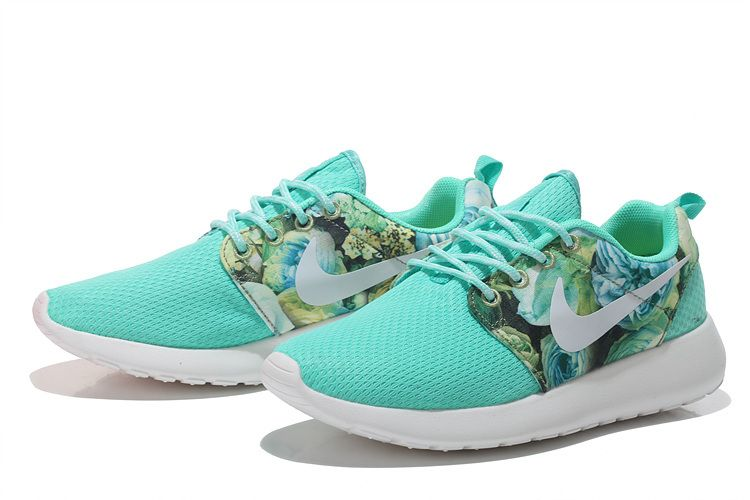 the latest b457d 28814 Nike Roshe Run Mesh Womens London flower jade Shoes 36