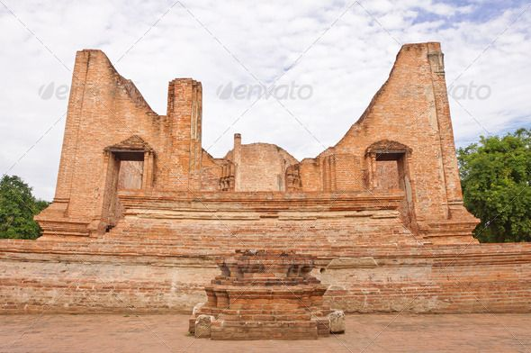 Ruined old temple build from brick  ...  ancient, antique, architecture, art, asia, asian, blue, brick, buddha, buddhism, buddhist, building, chedi, cultural, culture, faith, heritage, historic, historical, history, holy, kingdom, landmark, monument, old, pagoda, palace, park, pavilion, religion, religious, ruin, sacred, sculpture, siam, sky, spiritual, spirituality, statue, stone, structure, stupa, temple, thai, tourism, traditional, travel, tree, worship