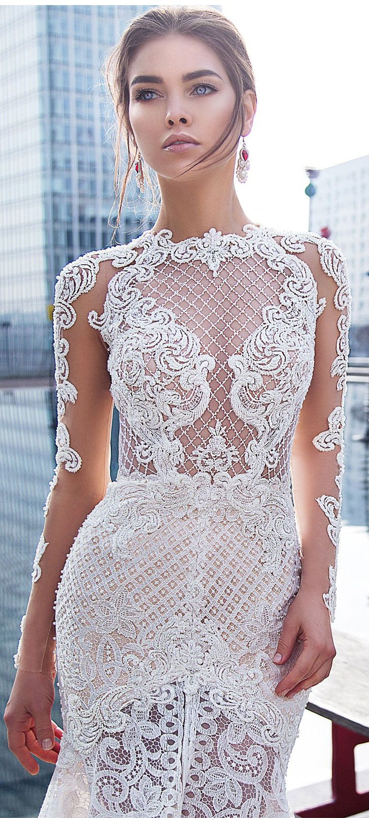 Long sleeves embroidered with pearls and beads Mermaid wedding dress chapel train #weddingdresses #bride #wedding #weddingdress #weddinggown