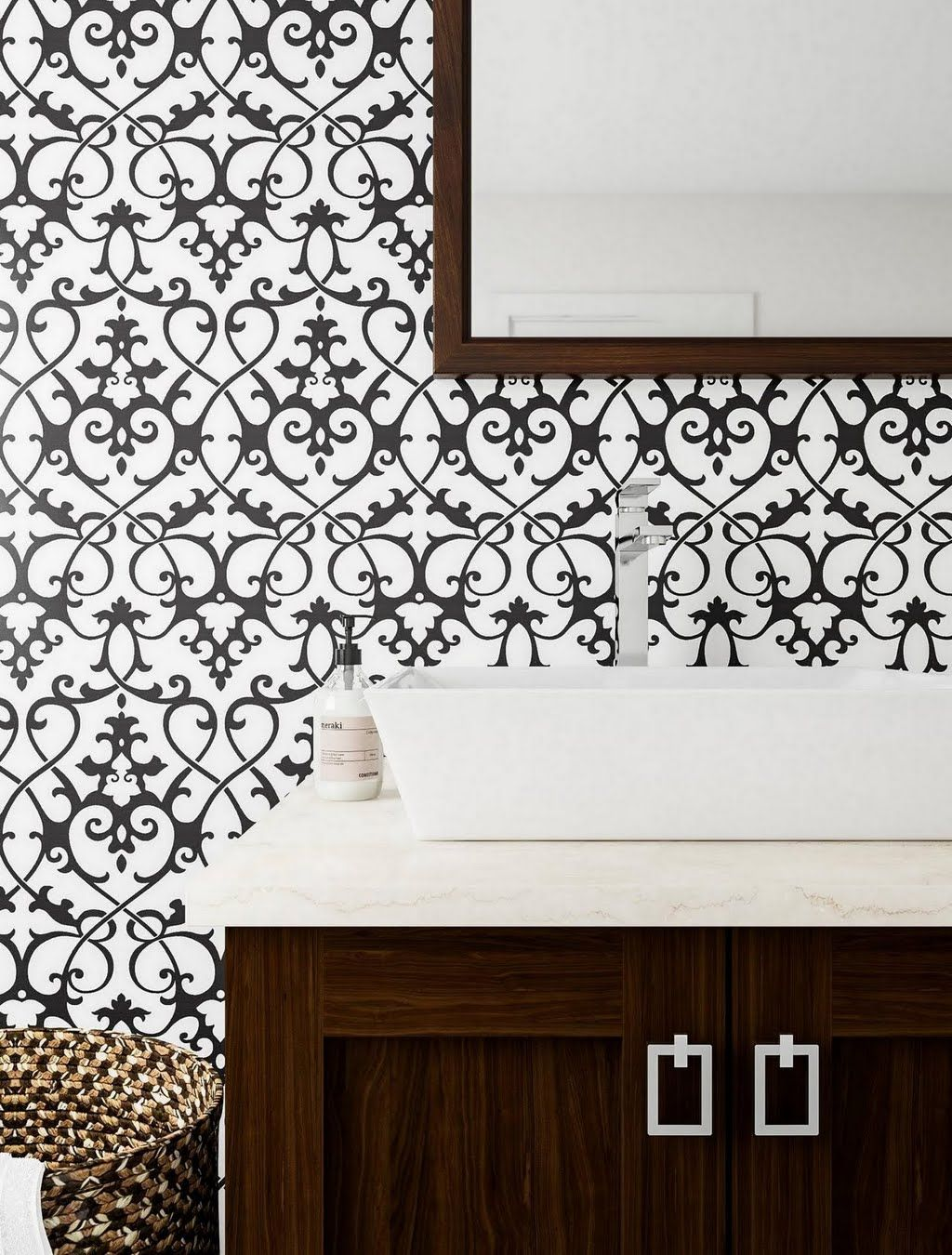 Black and White Scroll Bathroom Bathroom The Home